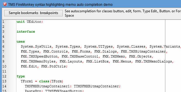 Delphi XE6 Firemonkey TMS Syntax Memo Demo